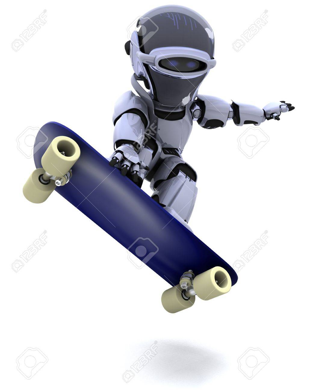 3D render of a Robot with skateboard Stock Photo - 8614029