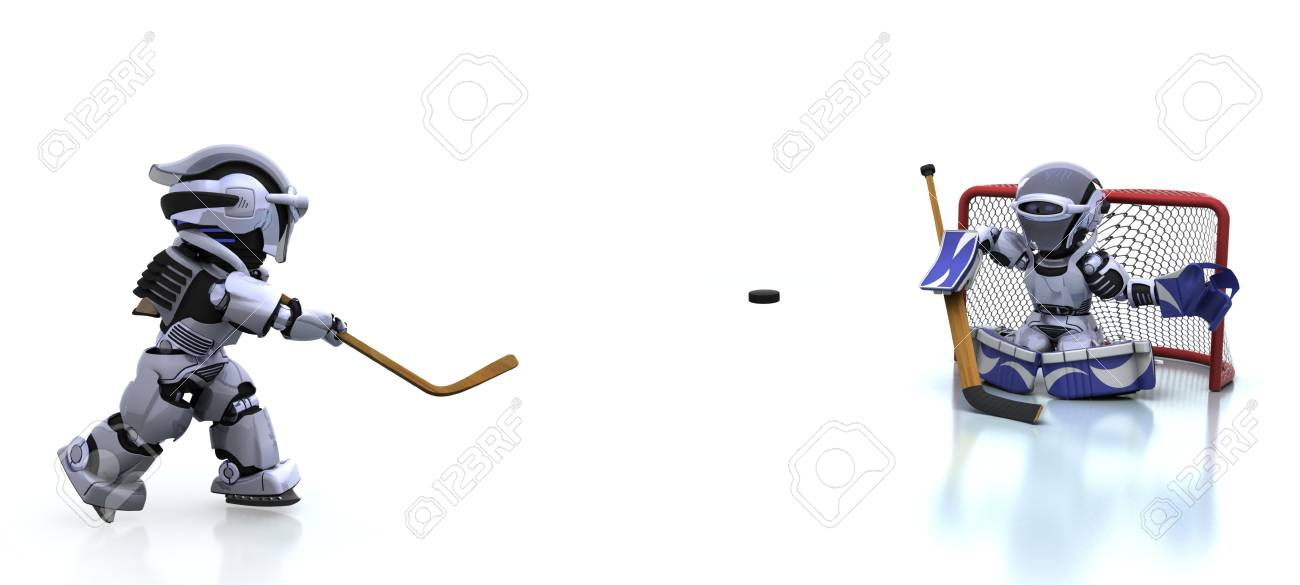 3D render of a Robot playing icehockey Stock Photo - 8614032