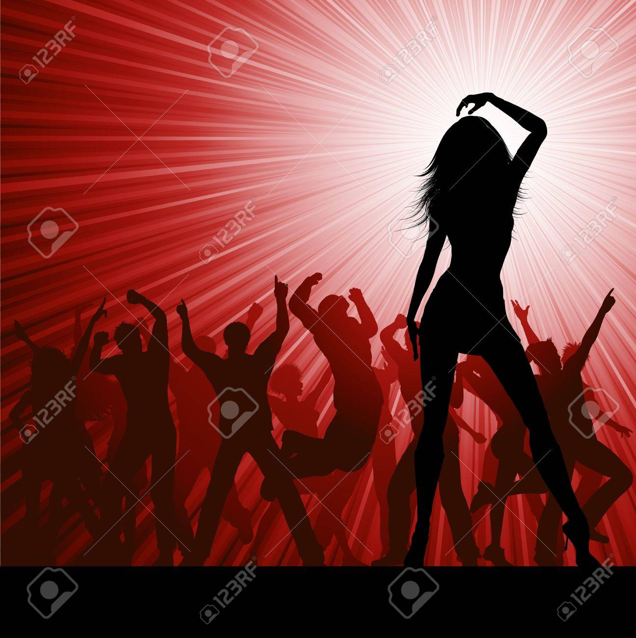 Silhouette of a crowd of party people on a starburst background Stock Vector - 8656399
