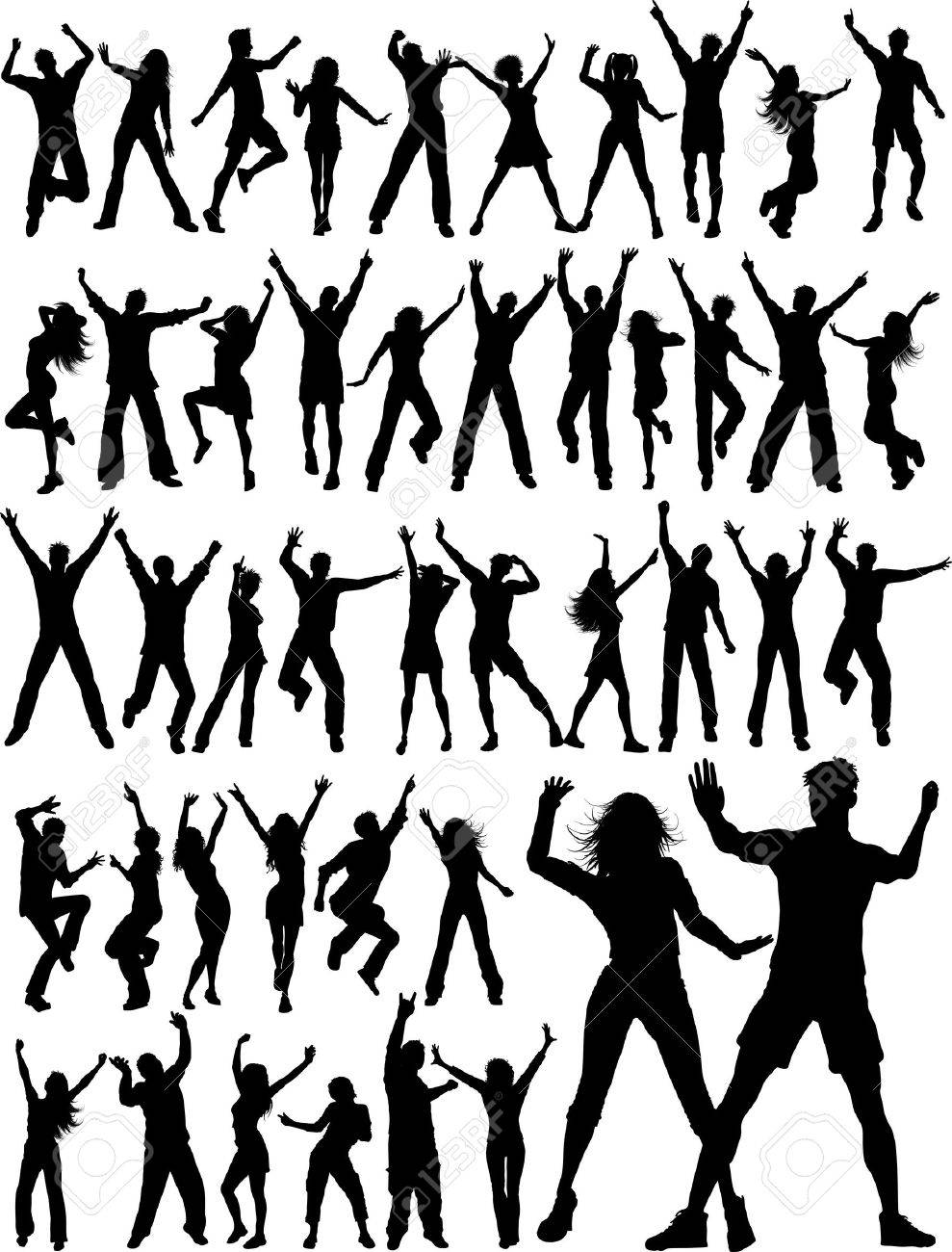 Huge collection of silhouettes of people dancing Stock Vector - 8847347