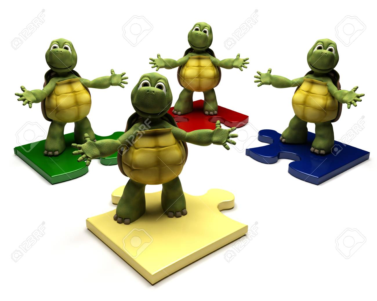 3D Render of a Tortoises on jigsaw pieces Stock Photo - 8981470