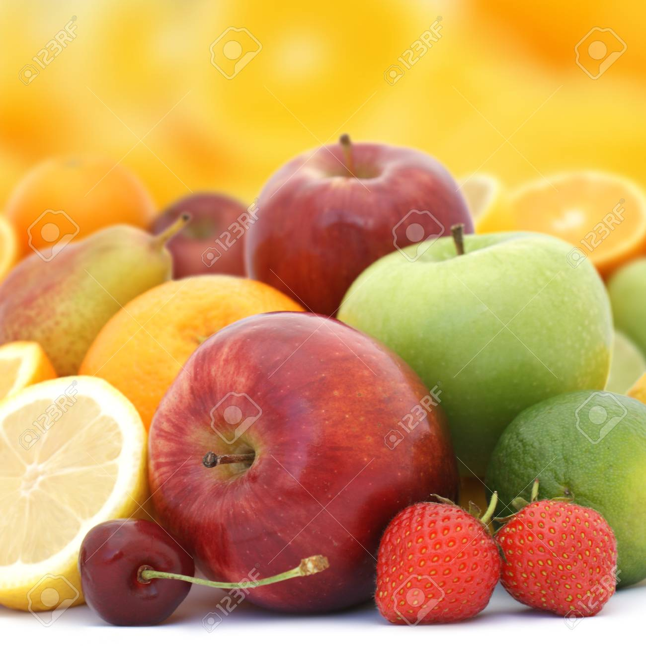 Display of fresh fruit on brightly coloured background Stock Photo - 8981489