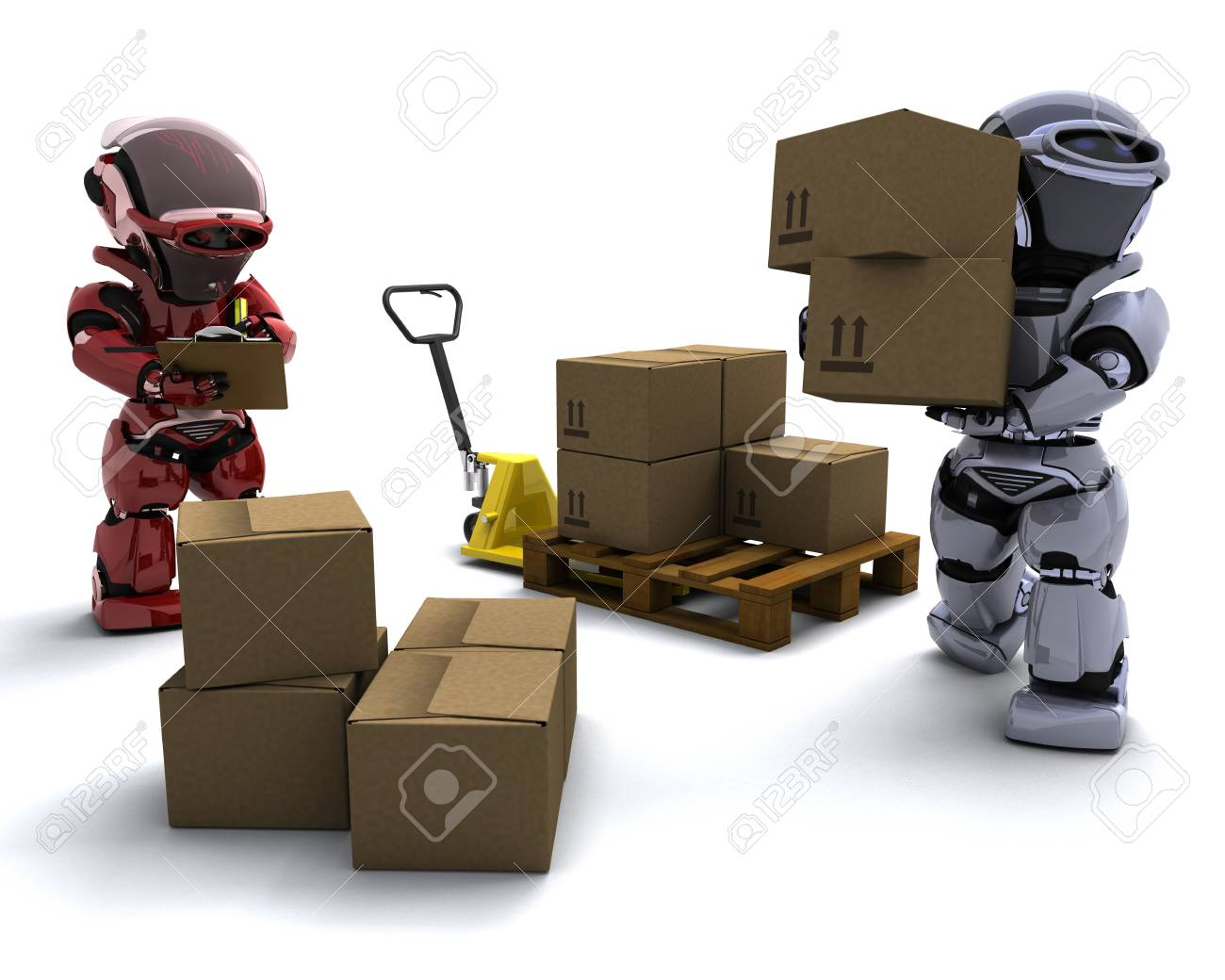 3D render of Robot with Shipping Boxes Stock Photo - 9083643