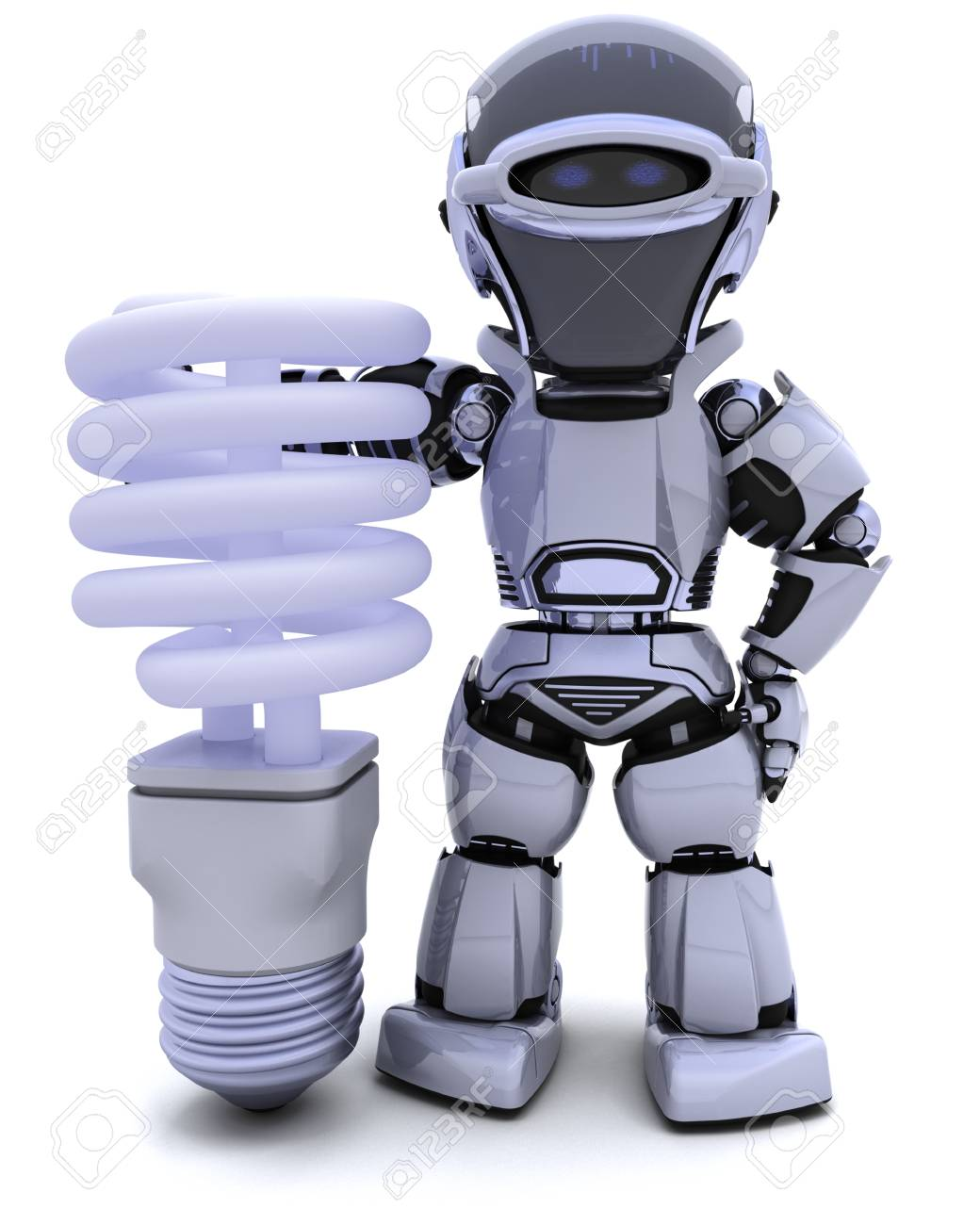 3D render of a robot with energy saving lightbulb Stock Photo - 9226666