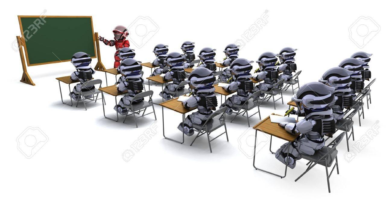 3D render of a robot teacher in classroom Stock Photo - 9334322