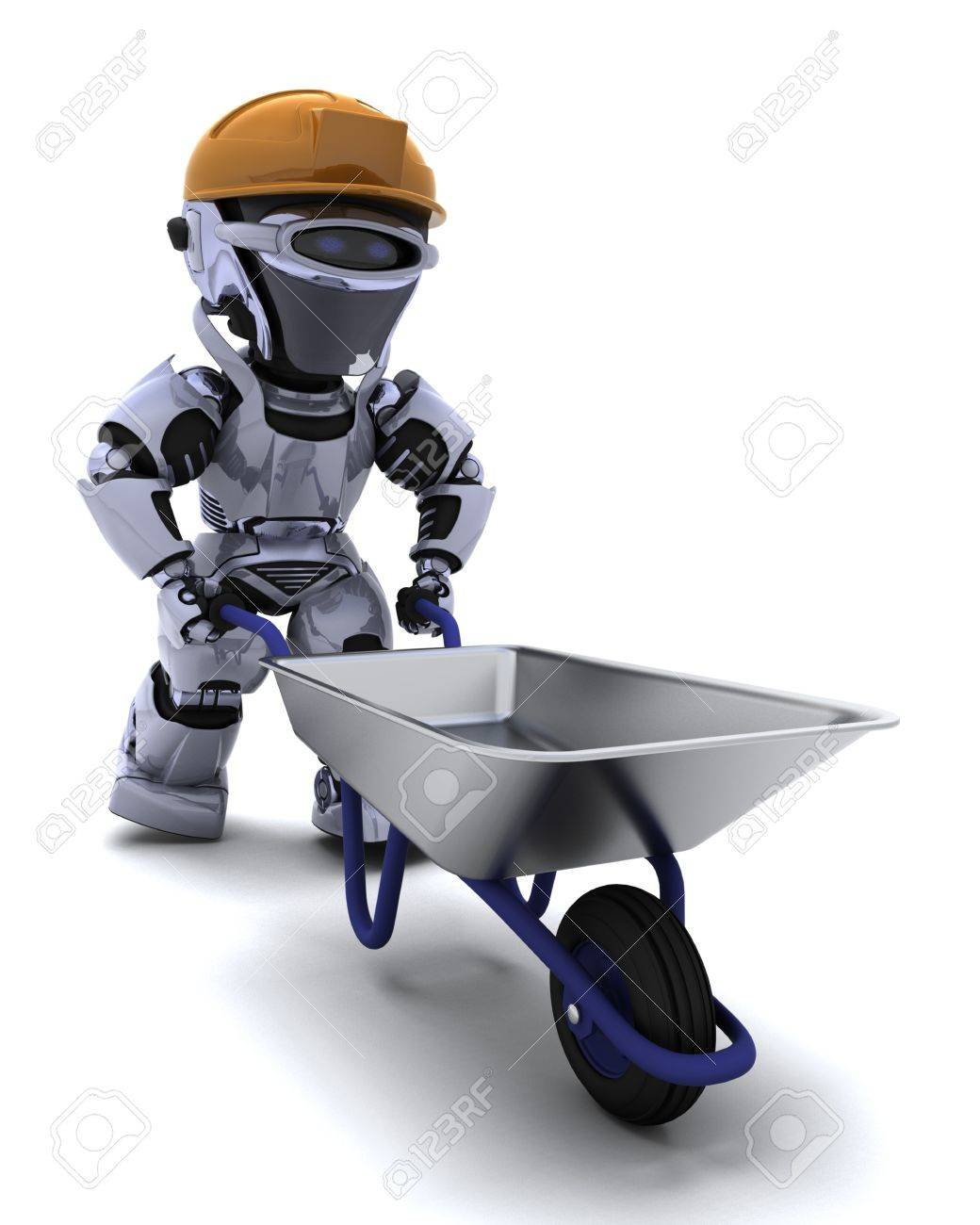 3D render of a robot Builder with a wheel barrow Stock Photo - 9440542