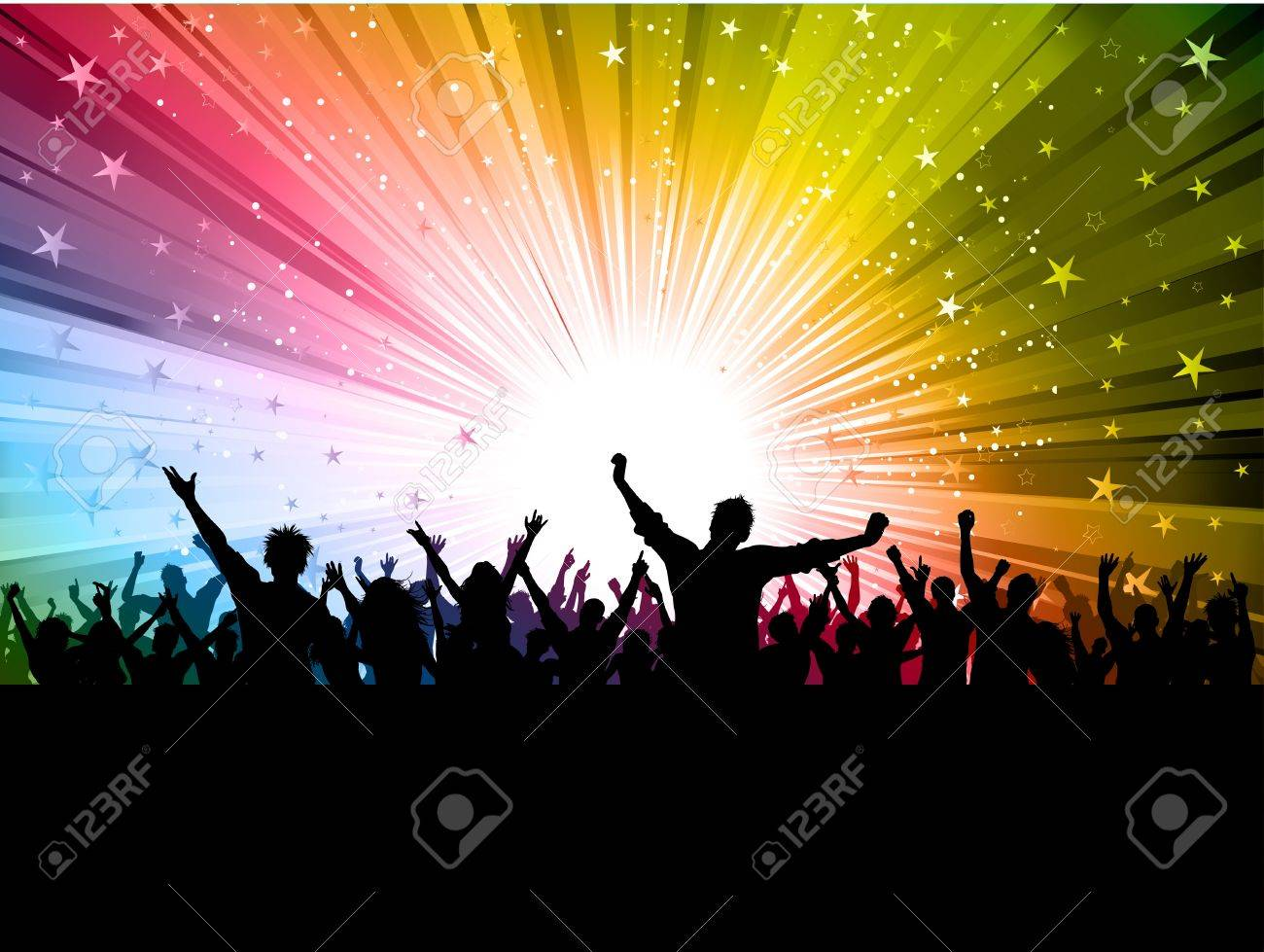 silhouette of a party crowd on a colourful starburst background