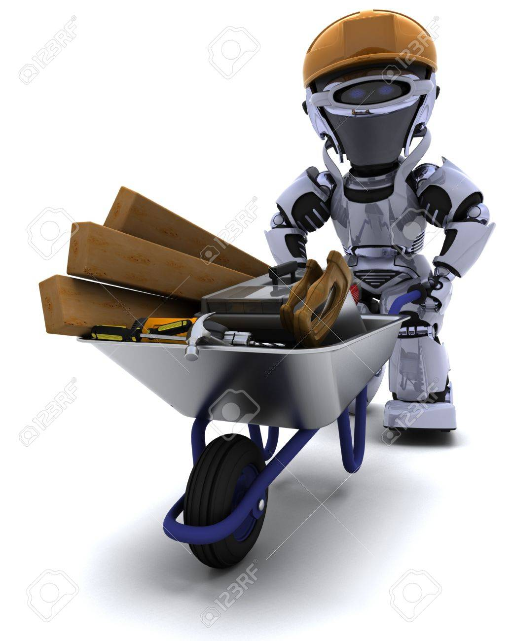 3D render of a robot builder with a wheel barrow carrying tools Stock Photo - 9549960