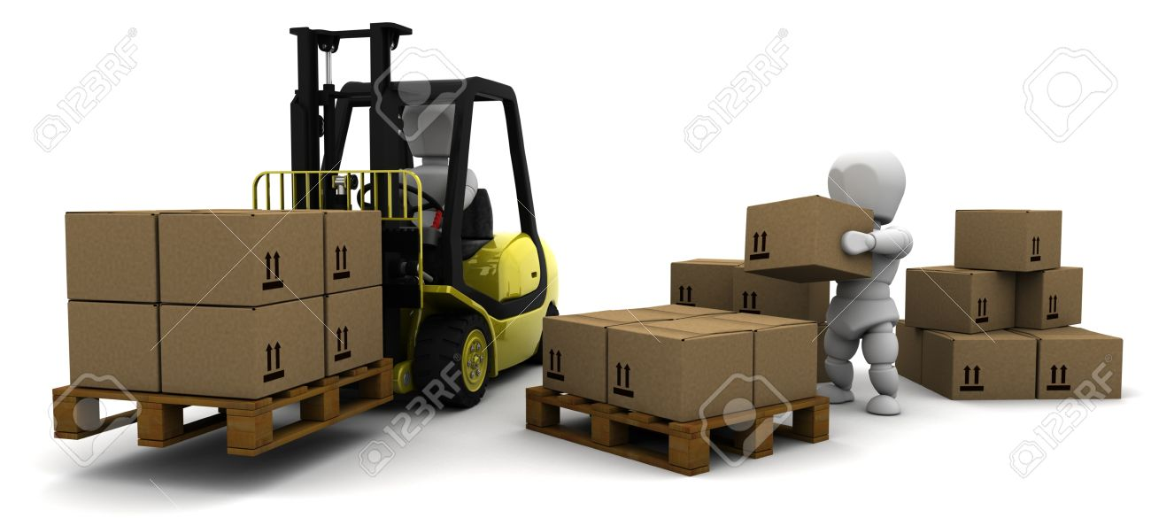 3D Render of Man Driving Fork Lift Truck Isolated on White Stock Photo - 9704851
