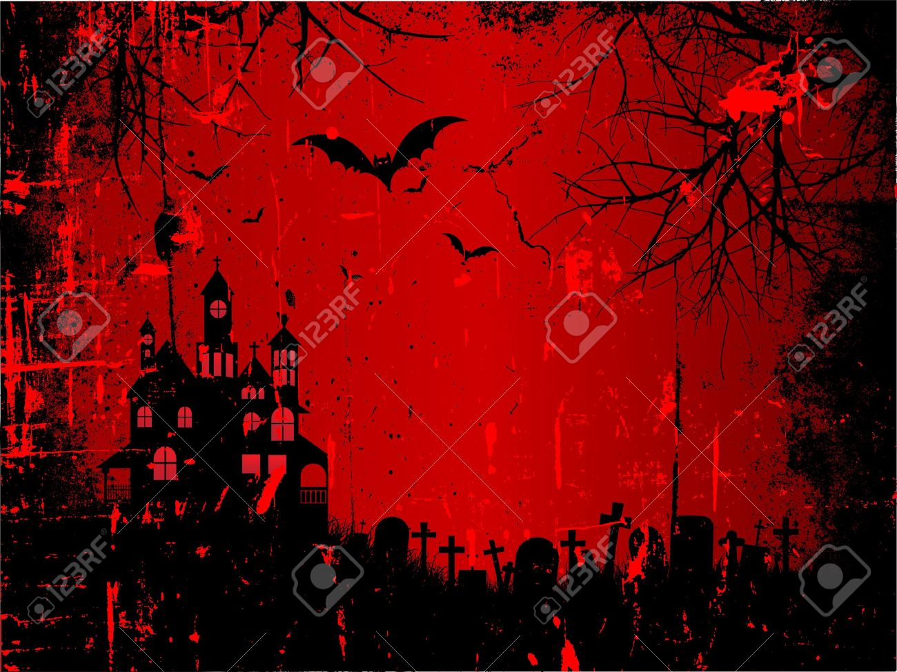 spooky halloween background with a grunge style effect stock vector