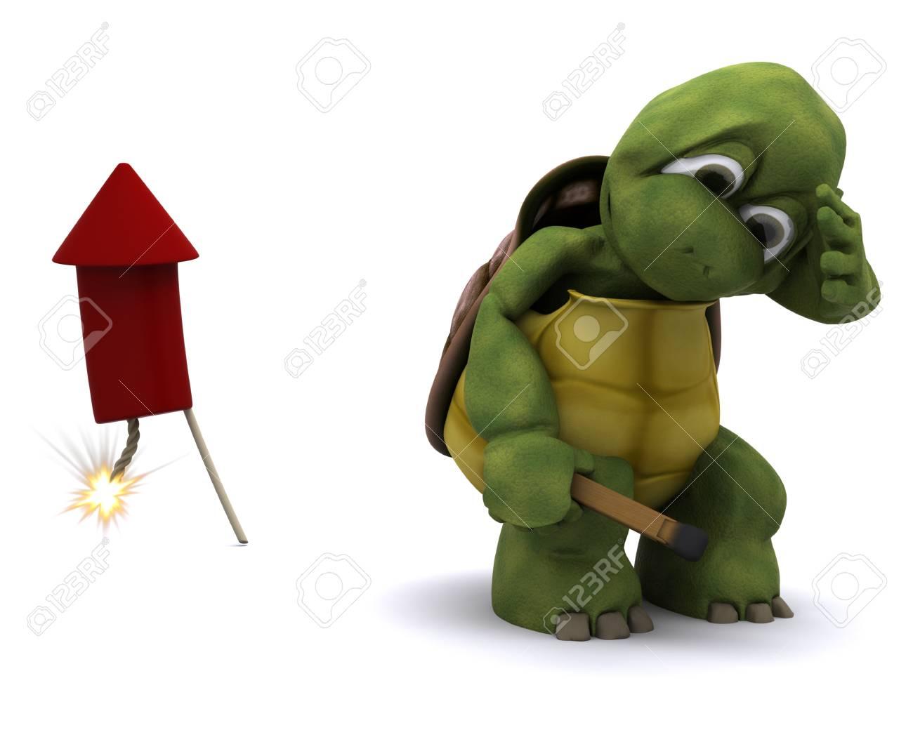 tortoise lighting. 3d Render Of Tortoise Lighting A Firework Stock Photo - 10620683