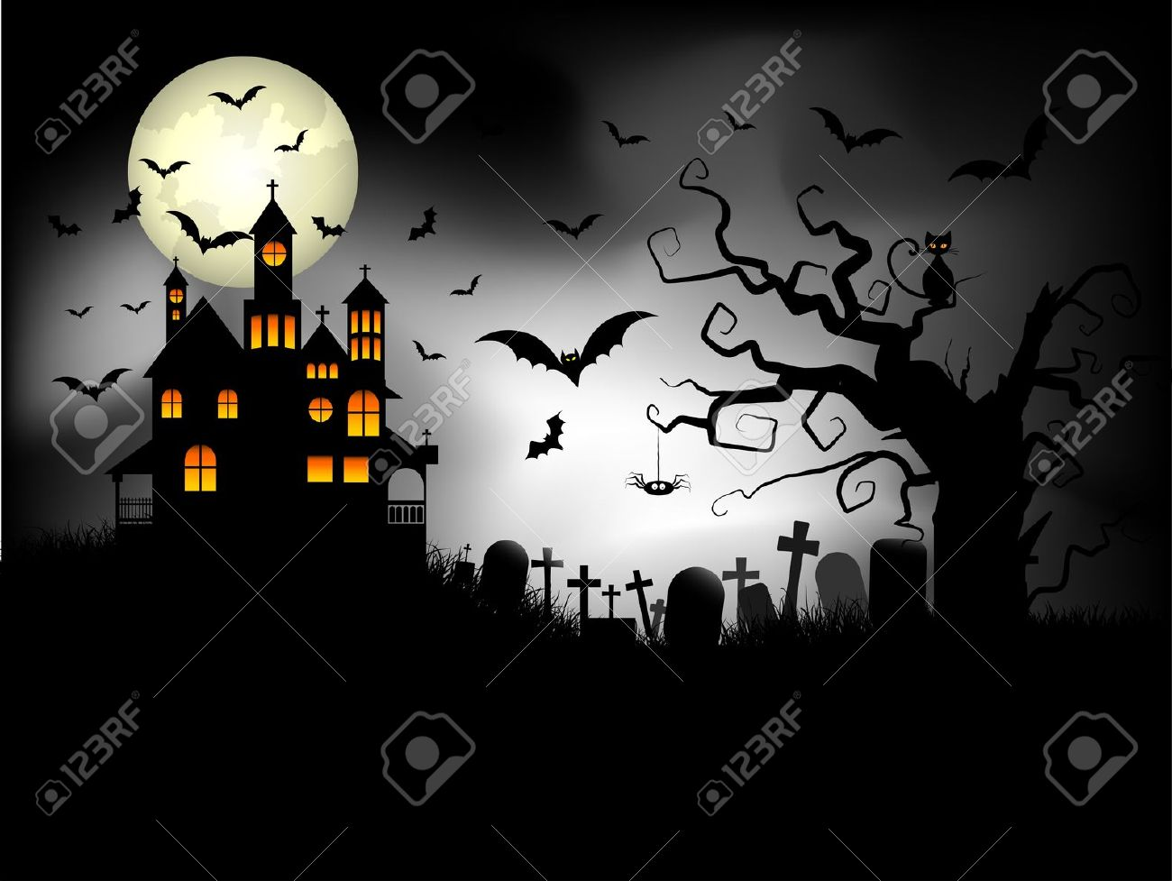 Halloween Spooky House.Halloween Background With Spooky House Against A Moonlit Sky
