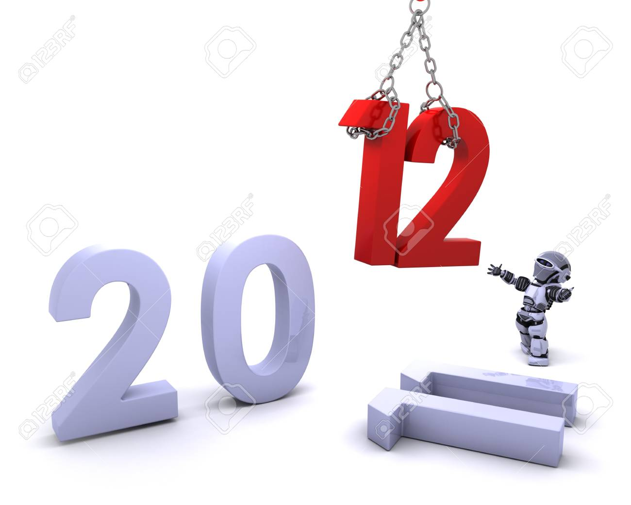 3D render of a Robot Bringing the new year in Stock Photo - 10939970