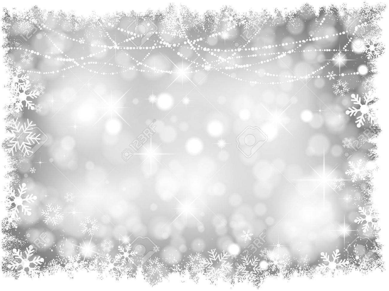 Decorative Silver Lights Christmas Background With Snowy Border ...