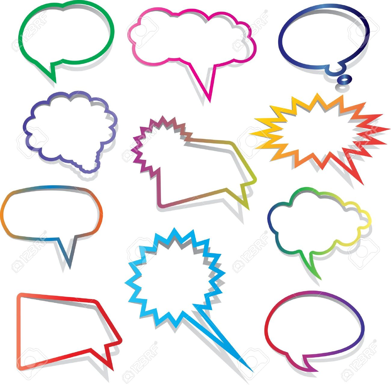 Collection of brightly coloured speech bubbles with shadows Stock Photo - 11190174