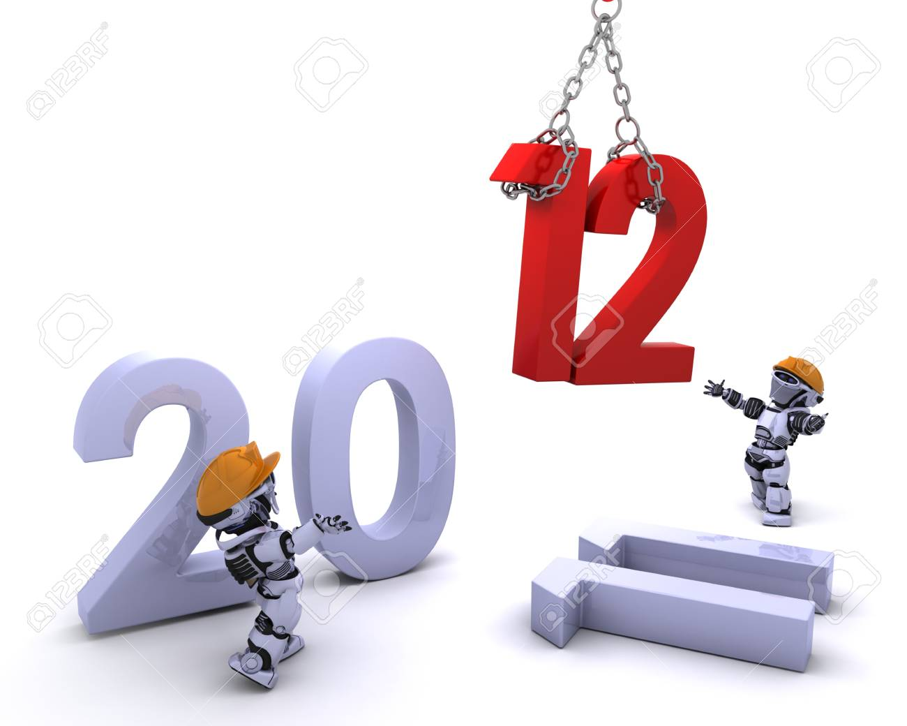 3D render of a Robot Bringing the new year in Stock Photo - 11331351