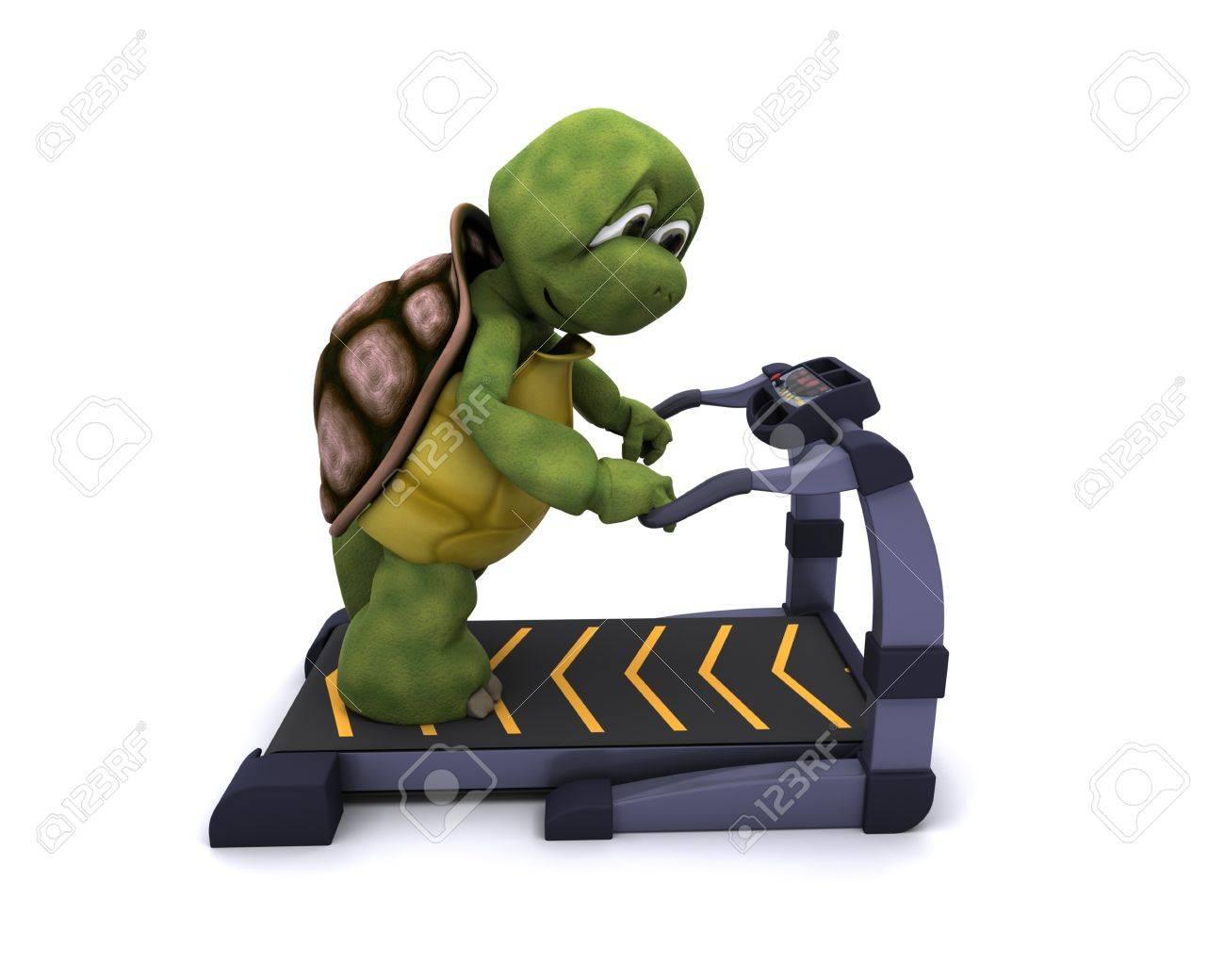 3D Render of a Tortoise running on treadmill Stock Photo - 11863033