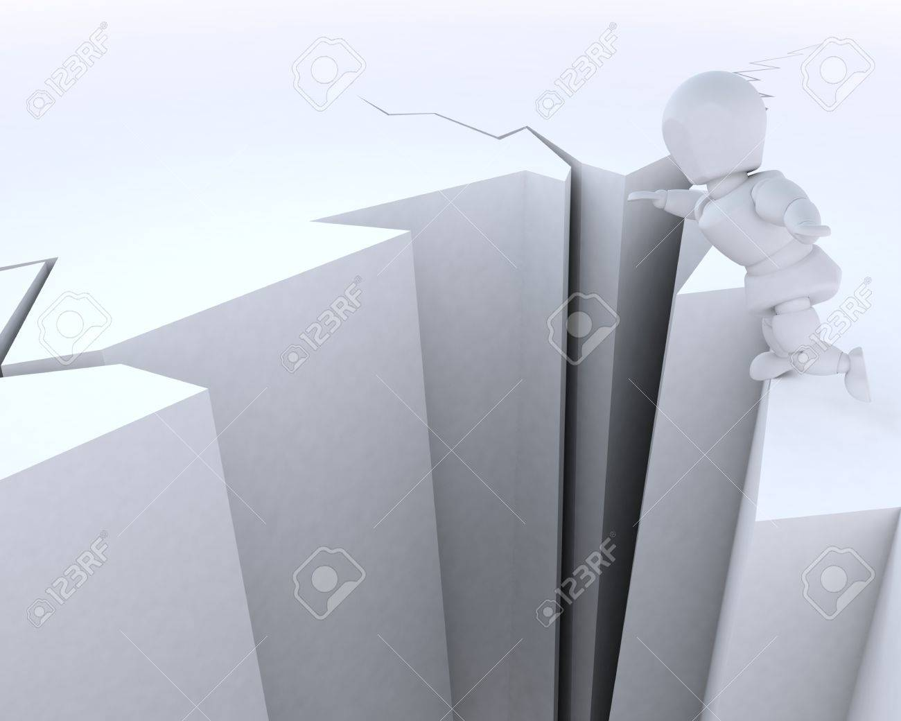 3D render of a man on a cliff edge Stock Photo - 12397380