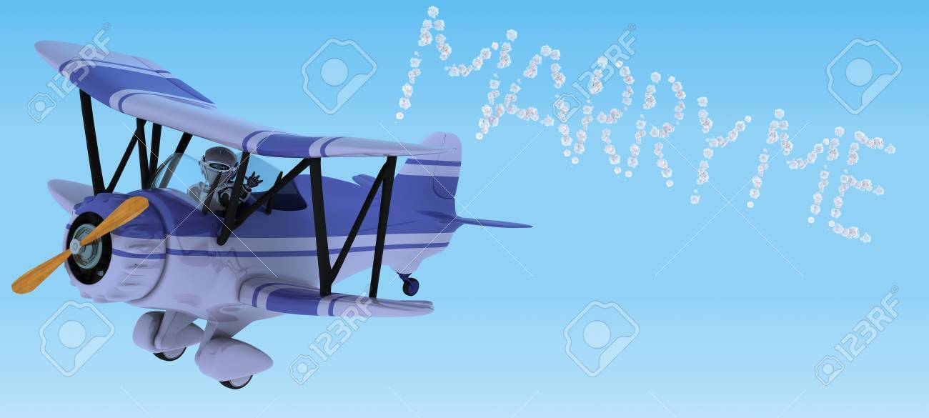 3D render of a robot flying a biplane sky writing Stock Photo - 12397406