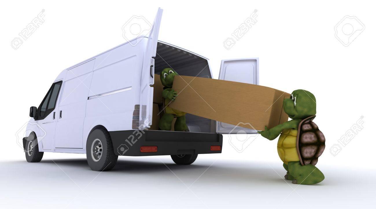 3D render of a tortoises loading a van Stock Photo - 13001736