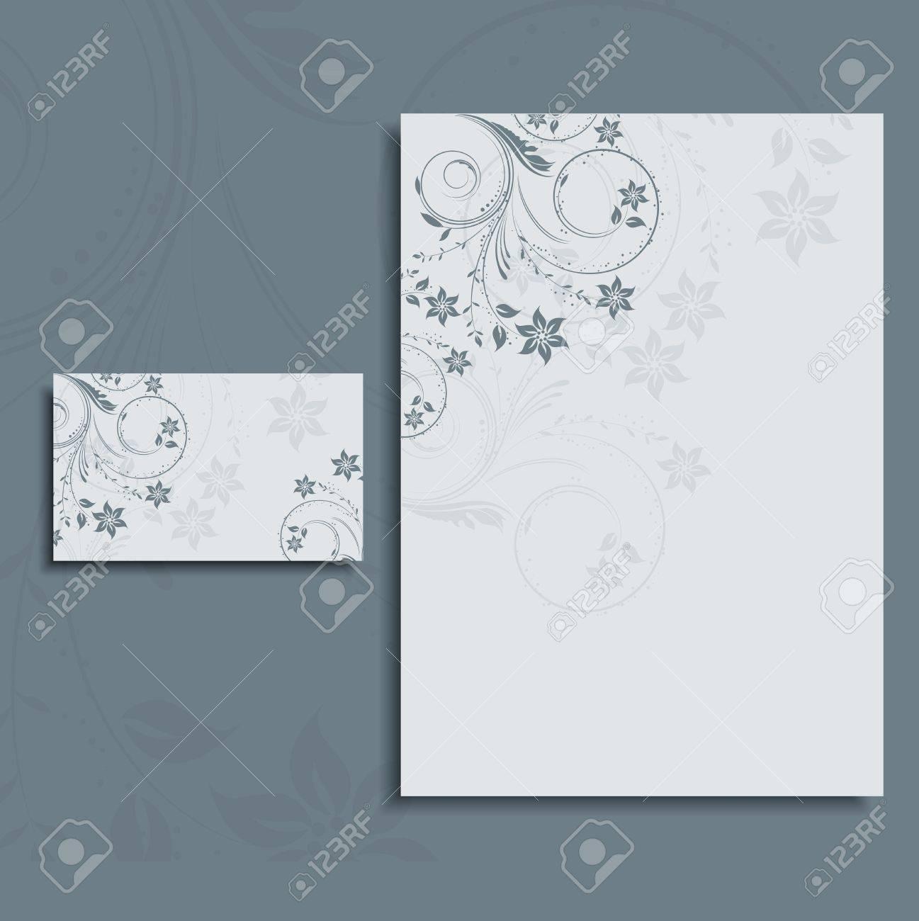 Floral Design Layout Für Einen Briefkopf Und Visitenkarte