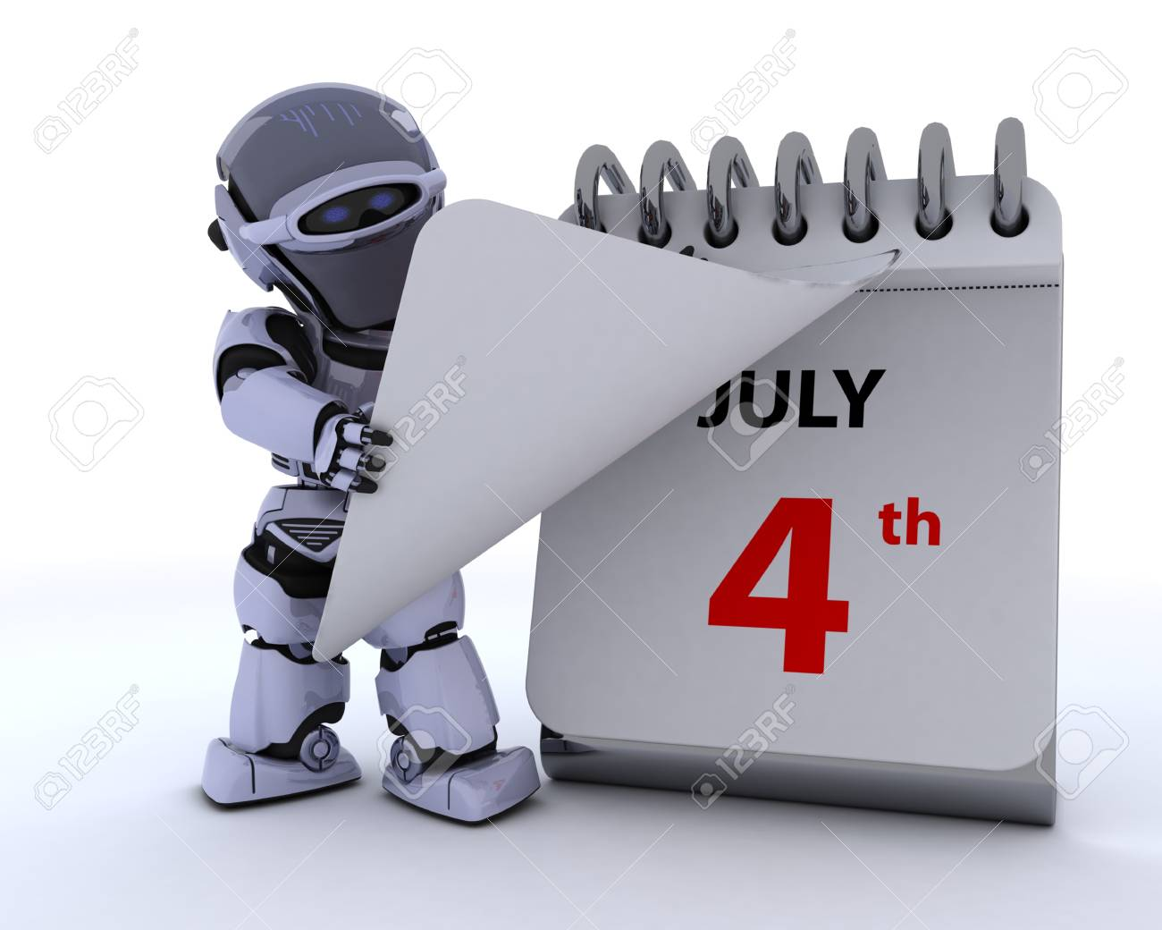 3D render of a robot with a calender Stock Photo - 13625755
