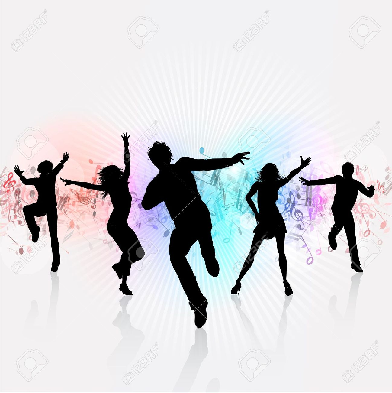 Silhouettes Of People Dancing On A Music Notes Background Stock Photo Picture And Royalty Free Image Image 14402284