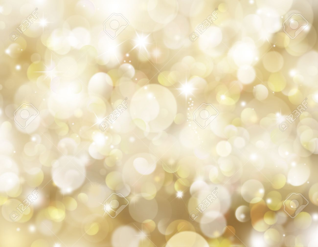 Gold Christmas Background With Bokeh Lights And Stars Stock Photo 15798925