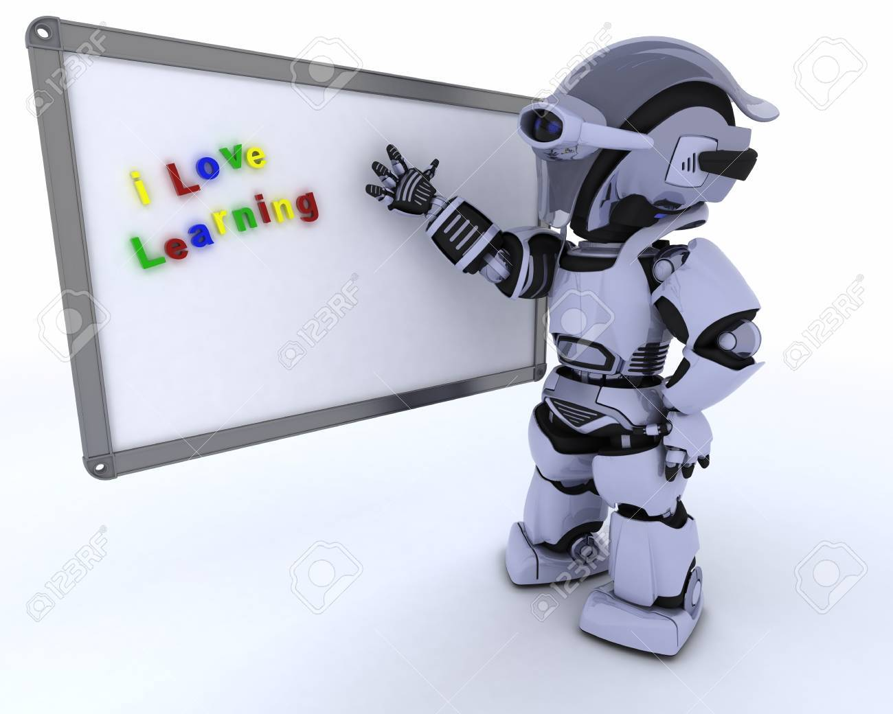 3D render of a Robot with White class room drywipe marker board Stock Photo - 15798928
