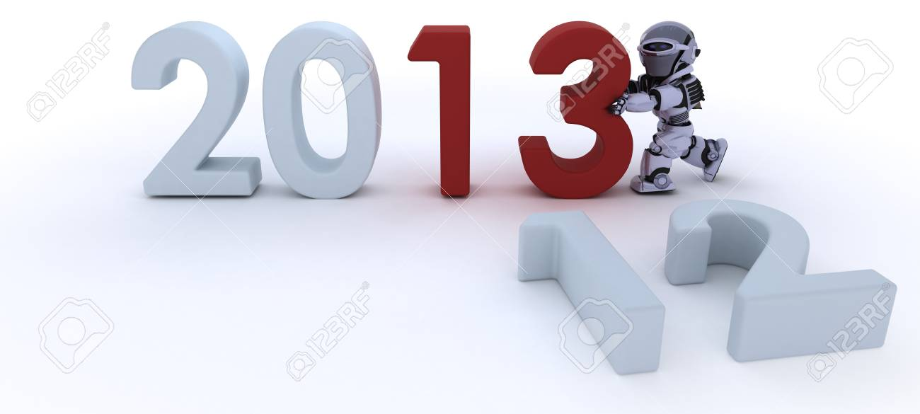 3D render of a Robot  bringing in the new year Stock Photo - 17204240