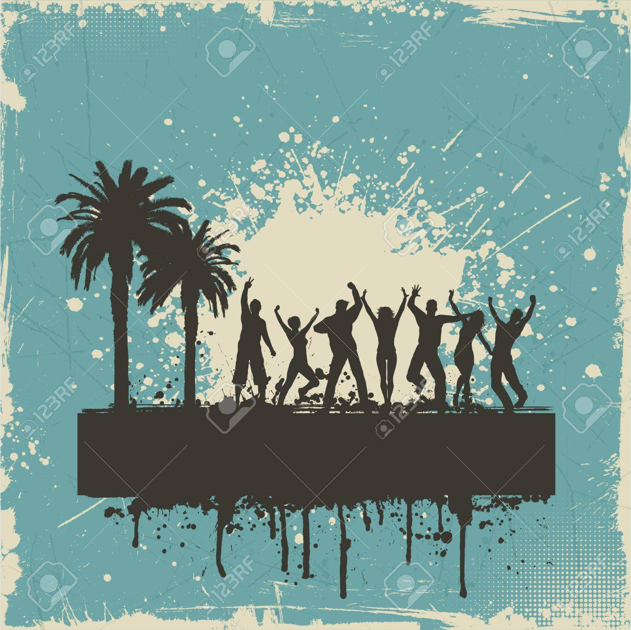 Tropical grunge background with silhouettes of people dancing Stock Photo - 19689750