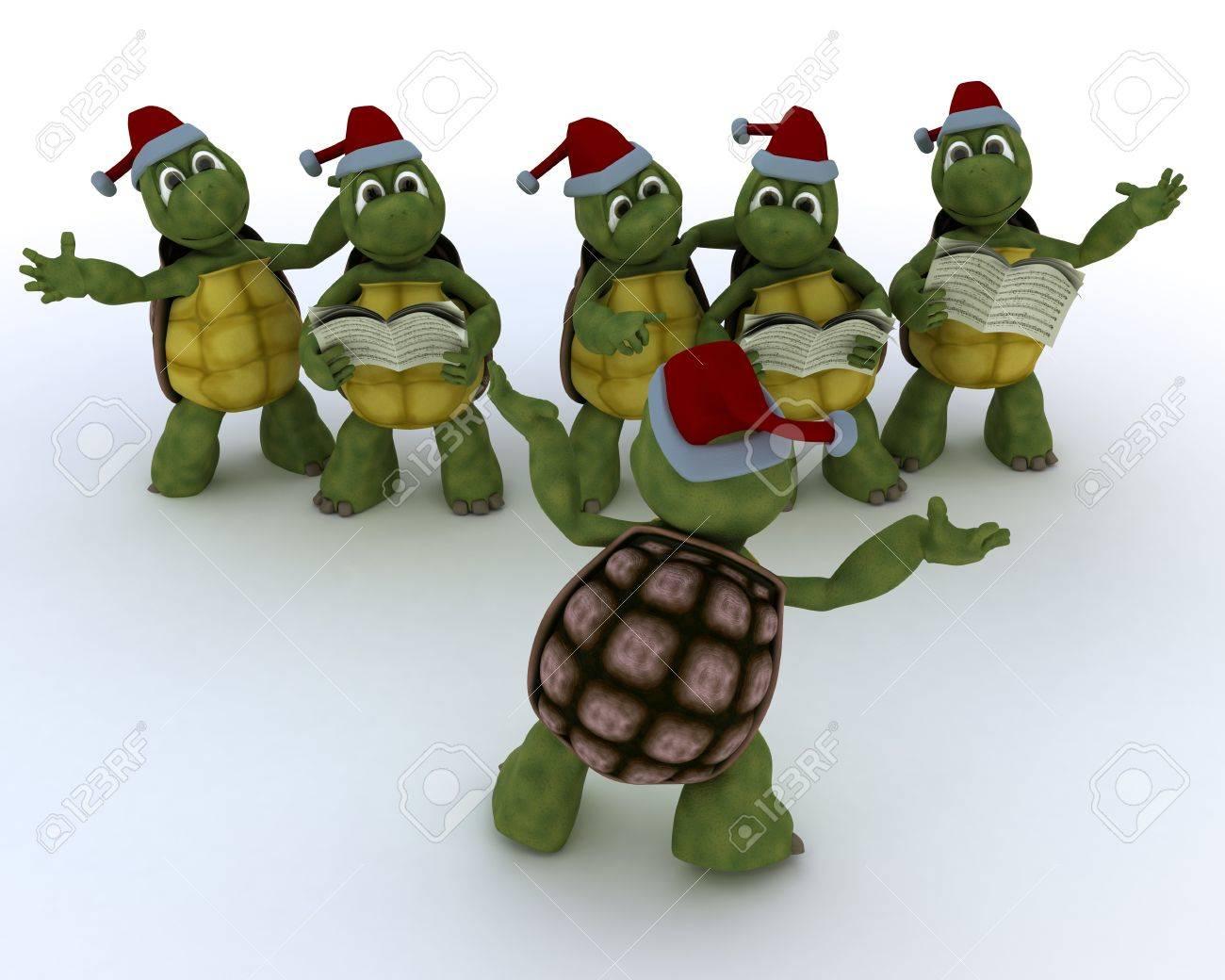 3D Render of a tortoises singing christmas carols Stock Photo - 21592457