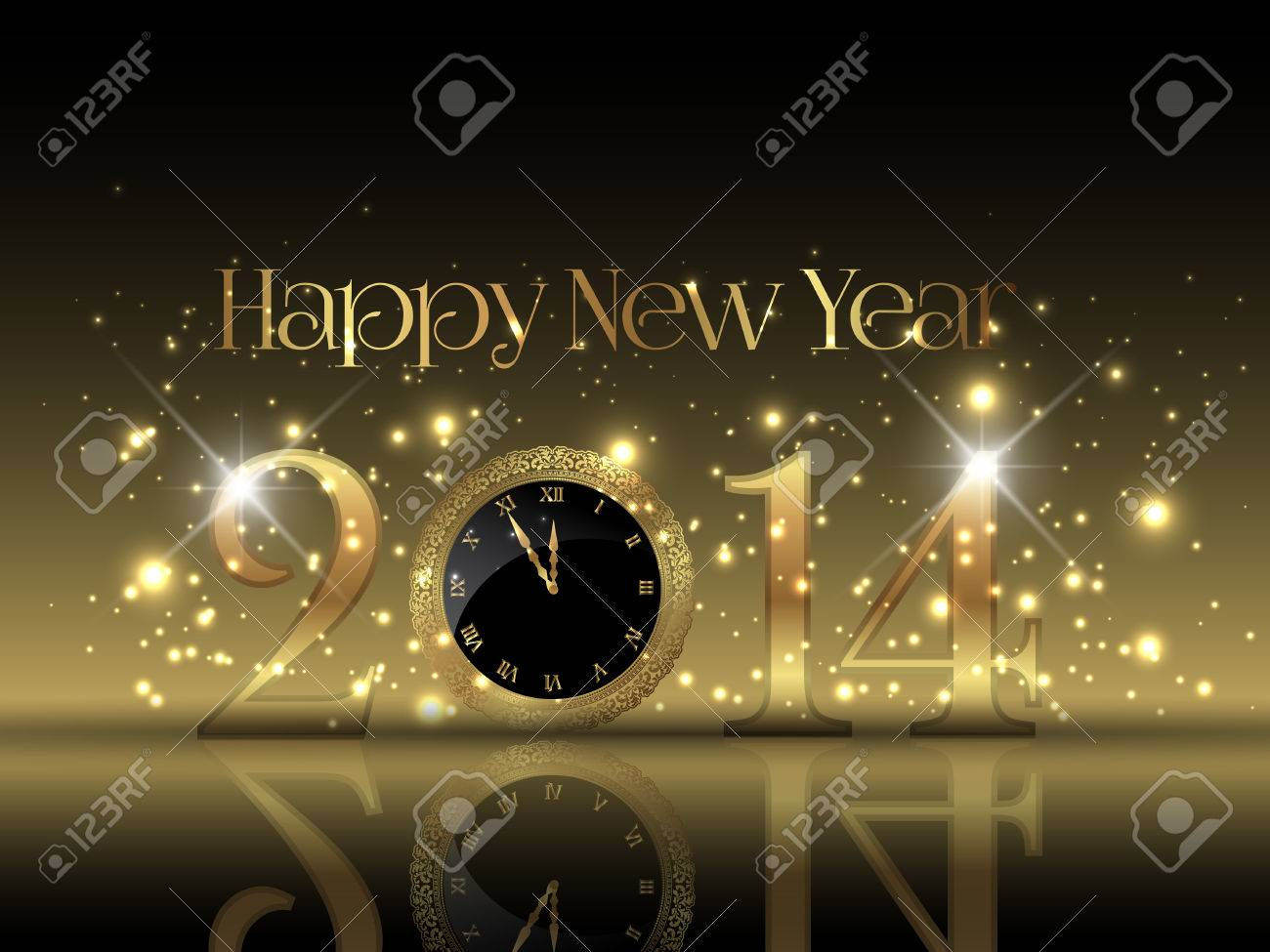 decorative happy new year background with a clock design stock photo 24512543