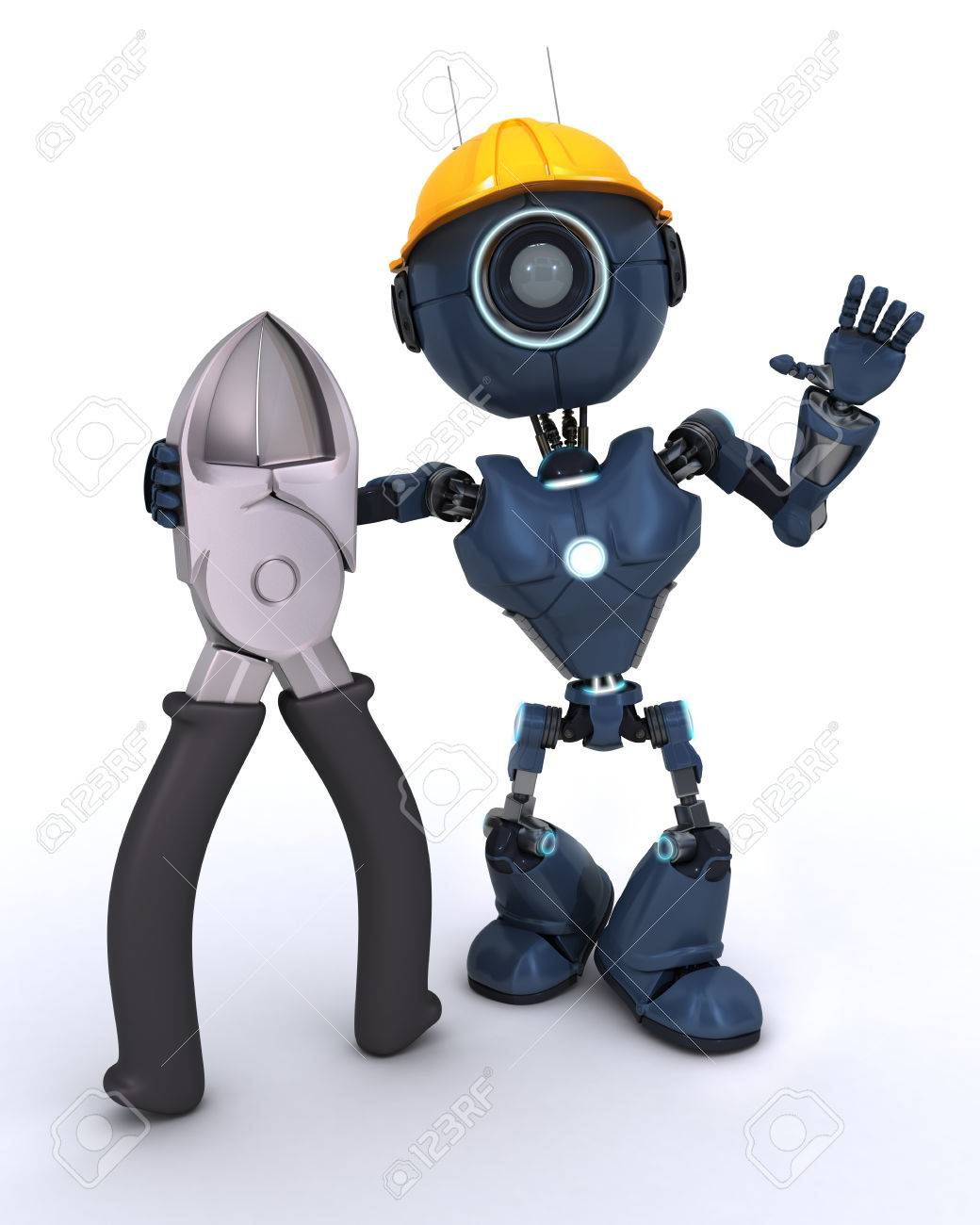 3D Render Of Builder Robot With Wire Cutters Stock Photo, Picture ...