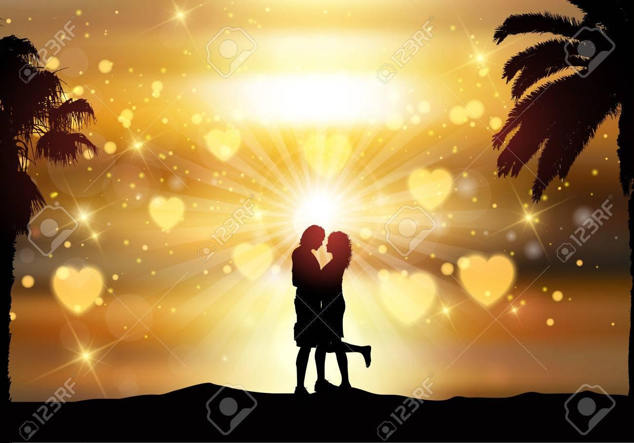 Ein liebendes paar am strand bei sonnenuntergang. Der mensch umarmt die  frau am strand bei sonnenuntergang.