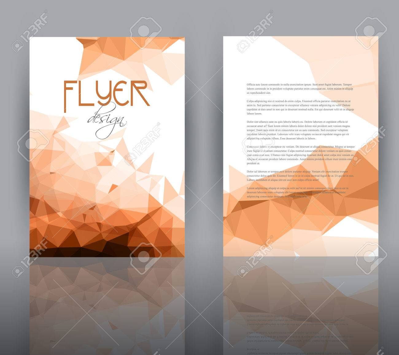 double sided flyer template with a low poly design stock photo