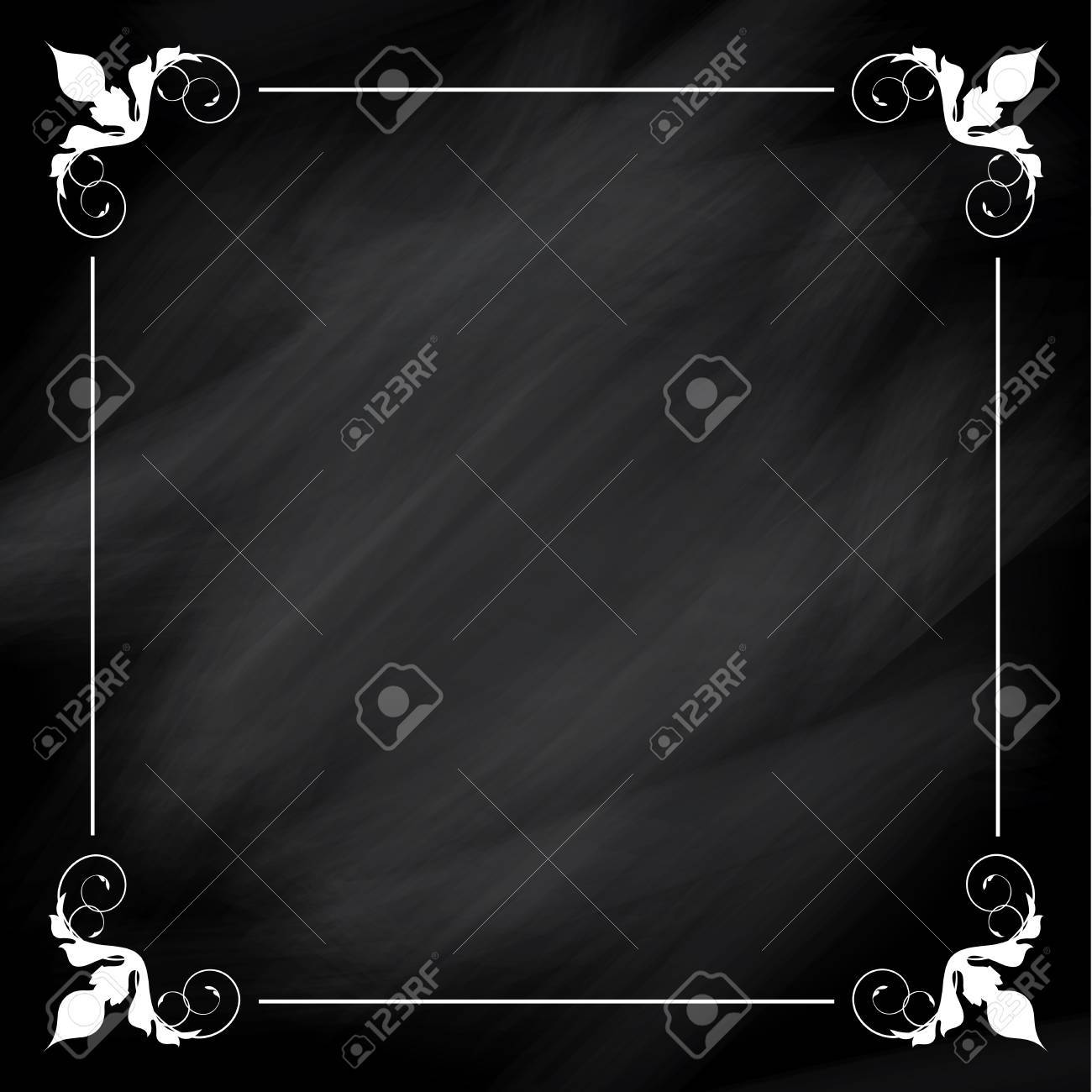 Chalkboard Background With A Decorative Border Stock Photo