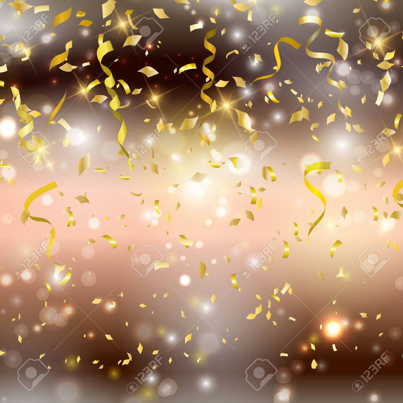 gold background with confetti and streamers stock photo picture and