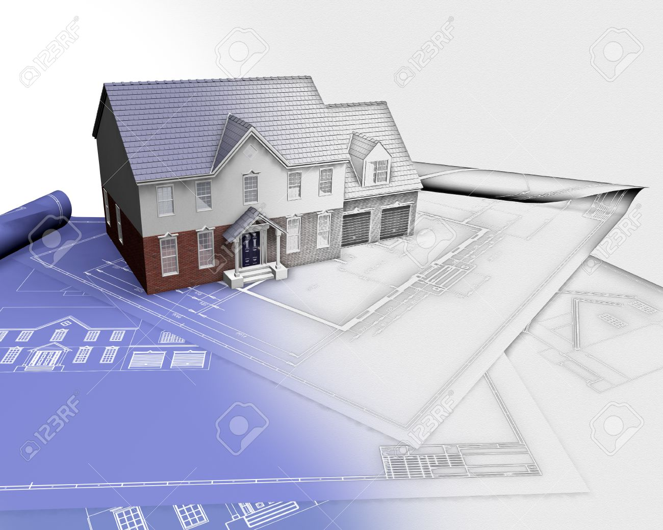 3D Render Of A House On Blueprints With Half In Sketch Phase Stock Photo