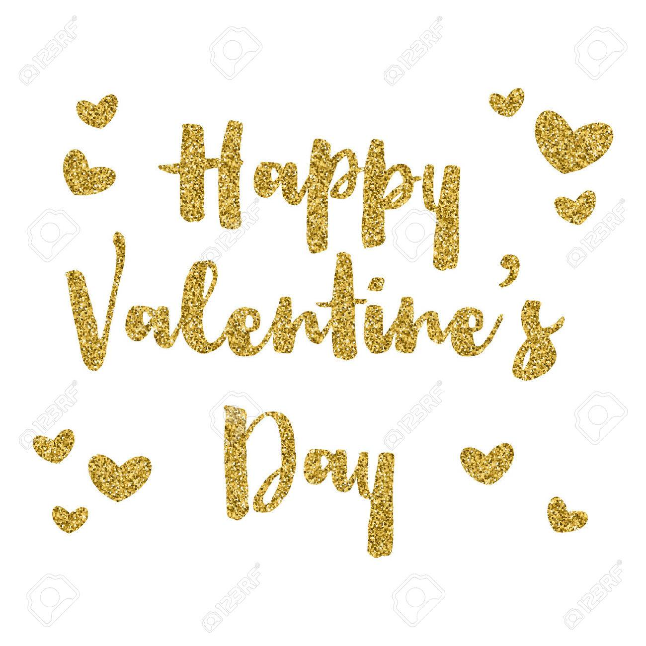 d8dbf4b44906 Happy Valentine's Day background with gold glitter text Stock Photo -  50820253