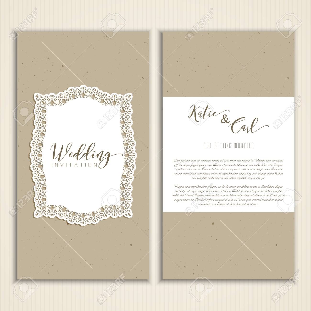 Wedding Invitation With Cardboard Style Texture And Lace Label Stock ...