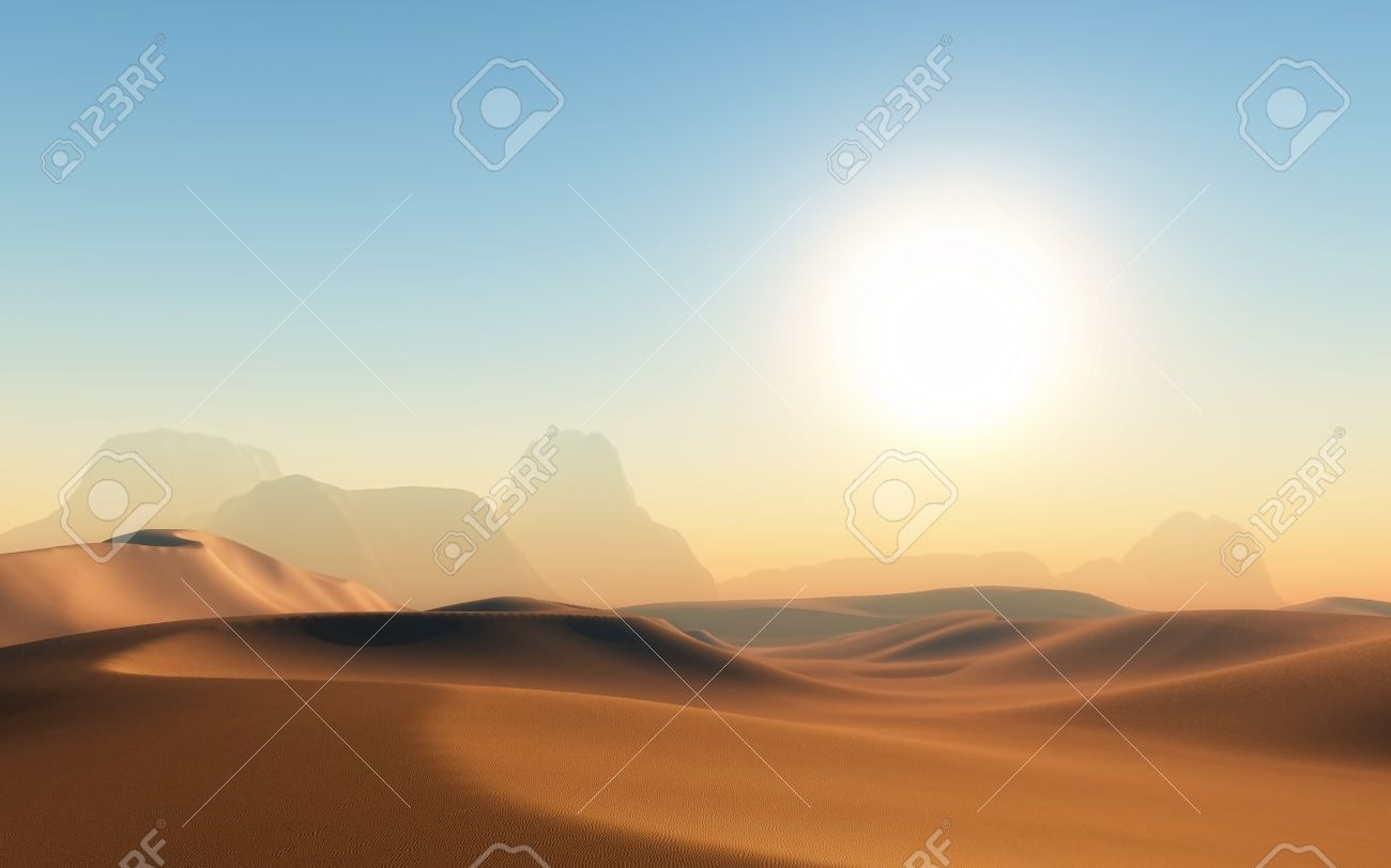 D Render Of A Hot Sandy Desert Scene Stock Photo Picture And - A hot desert