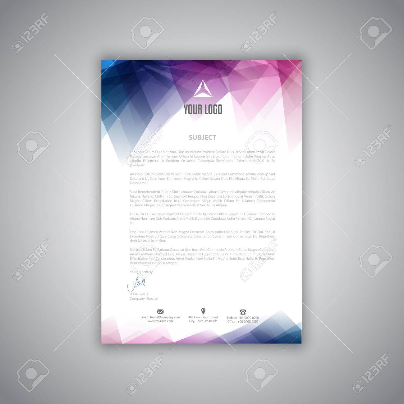 layout design for a business letterhead stock photo 61088037 - Business Letter Head
