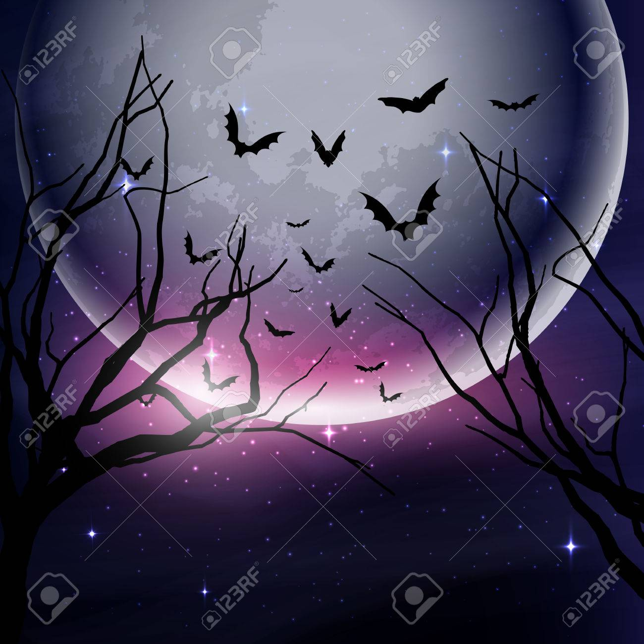Halloween night sky background with tree silhouettes against..