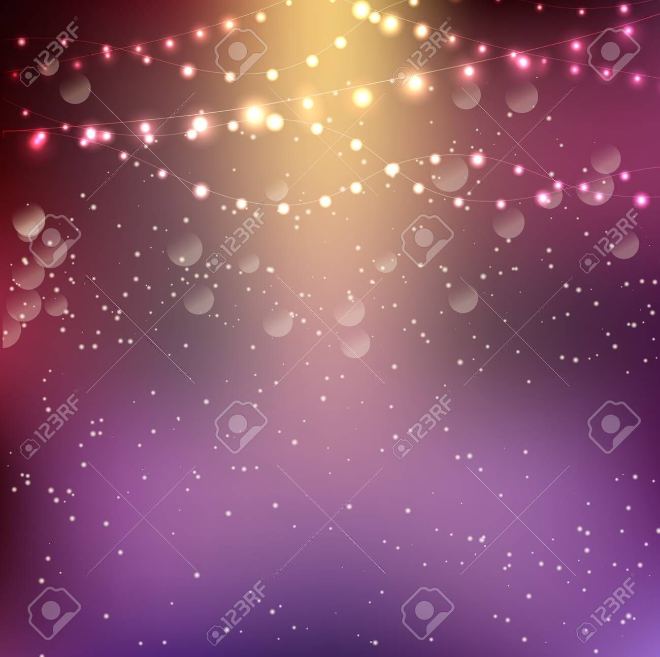 Christmas Background With String Lights Stock Photo