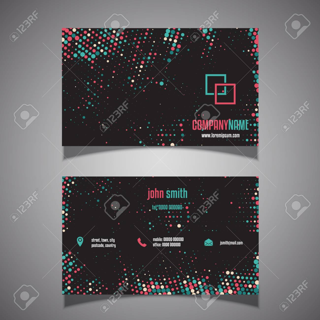 Business Card With A Halftone Dots Design