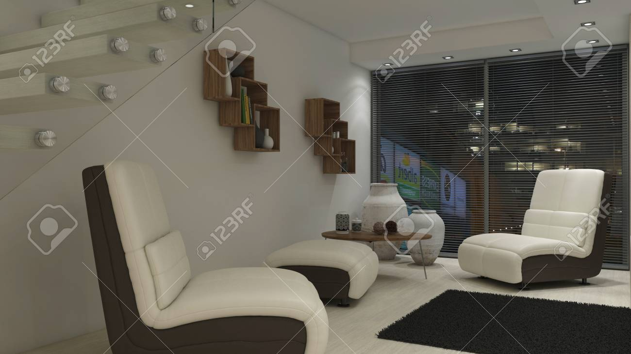 Render of 3d contemporary living room interior and modern furniture stock photo 111774467