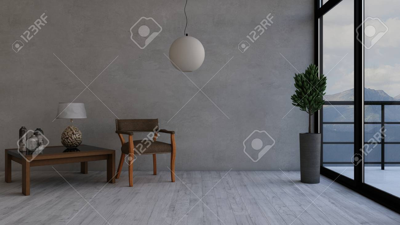 Render of 3d contemporary living room interior and modern furniture stock photo 111774630