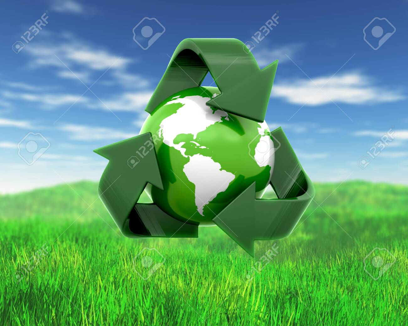 3D render of a globe with recycling symbol on grass and sky landscape - 140620401