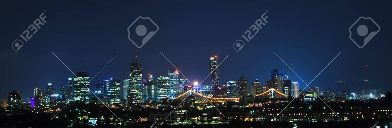Brisbane City, Australia at Night With Storey Bridge Stock Photo - 8010360